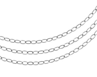 Unfinished Jewelry chains Sterling Silver 2.3x3mm Flat Cable chain - 5ft (2461-5)/1