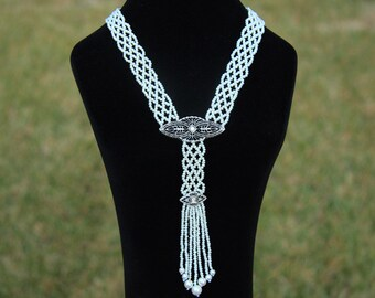 Hand Woven Seed Pearl Sautoir Tassel Necklace