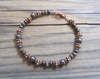 Beaded Copper & Magnetic Hematite Bracelet in Antiqued Copper with Handmade Beads, Artisan