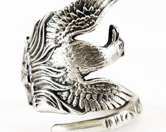 Phoenix Ring, Phoenix Rising, Phoenix Bird, Sterling Silver Spoon Ring, Handmade Spoon Ring, Fantasy Jewelry, Adjustable Ring Size (421)