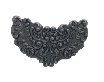 Winged Filigree Scroll Focal Plaque Black Brass Stamping 86mm x 56mm Qty 1 One Made in the USA