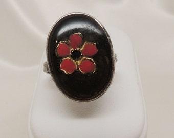 Vintage Red Flower Ring