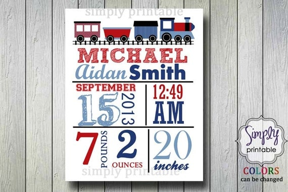 Digital Train Wall Birth Announcement