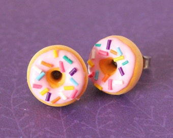 Miniature food - Strawberry Frosted Donuts stud earrings hypoallergenic (Surgical Steel)