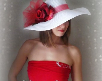 Red Rose - White Floppy Hat for Kentucky Derby Garden Party or Weddings wide brim straw hat beach