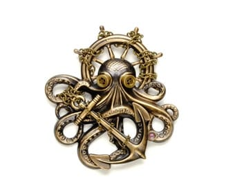Steampunk Pin Steampunk Hat Pin Octopus Brooch Kraken Cthulhu Steampunk Goggles Steam Punk Pirate Steampunk Jewelry By Victorian Curiosities