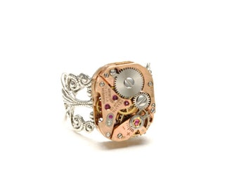 Steampunk Ring Steam Punk Ring ROSE GOLD Steampunk Watch Ring Silver Victorian Steampunk Ring Steampunk Jewelry By Victorian Curiosities