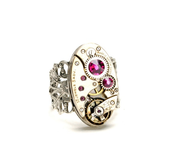 Steampunk Ring Steam Punk Ring Vintage ART DECO Watch Ring FUCHSIA Hot Pink Silver Ring Steam Punk Steampunk Jewelry By VictorianCuriosities