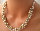 Champagne Pearl Necklace, Swarovski Crystals, Bridal Statement Necklace, Bridesmaid Necklace