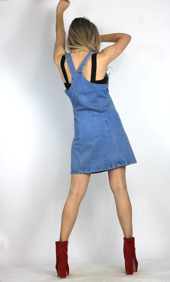 Vintage 80s 90s Denim Suspender Dress Jean by AbandonedLoveShop