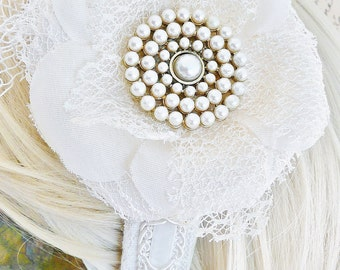 Vintage Pearl Flower Bridal Headband. Ivory Pearls, Delicate White Petals, Tatted Lace and Velvet Trim Make a Magical Wedding Hair Accessory