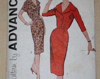 "1950s Sewing Pattern 9174 Advance Belted Dolman Sleeve Dress size 16 1/2 - Bust 37"" Waist 31"""