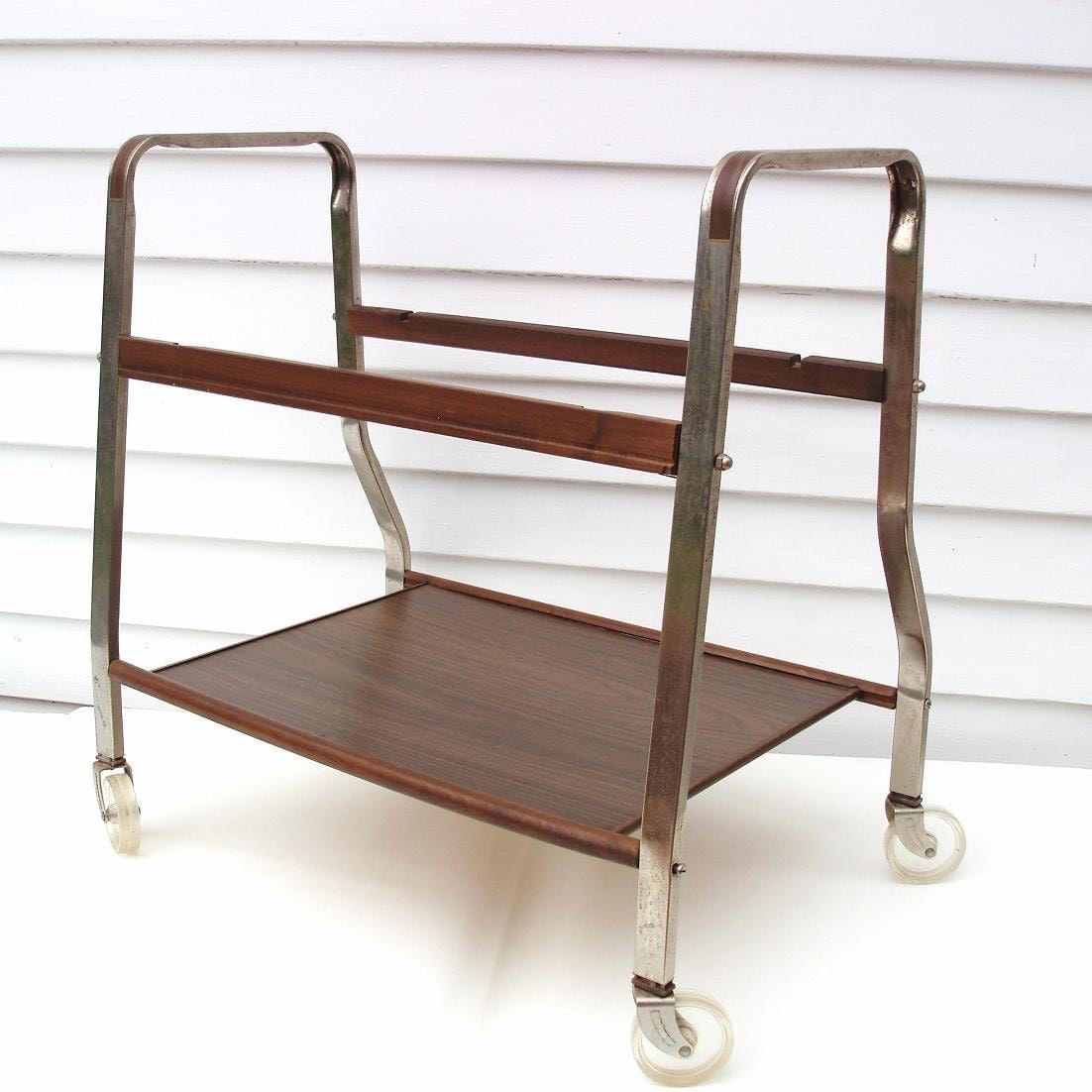 Vintage Metal Tv Stand Rolling Bar Cart Quilt Rack