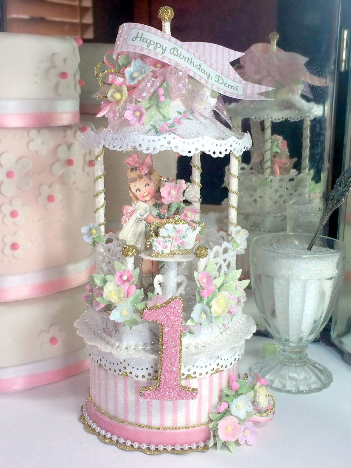 Victorian tea party birthday cake topper keepsake box first for Victorian tea party supplies