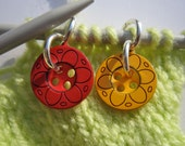 Stitch Markers, flower buttons, set of 6