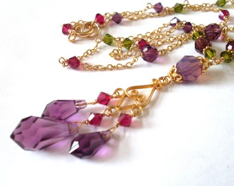 Chandelier necklace, Gold Vermeil, all Austrian crystal ruby plum olive jewel colors, delicate and ornate colorful necklace, crystal jewelry