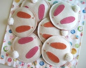 Set of Four Rabbit Felt Coaster with Appliqued Ear and Eyes