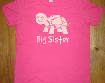 Big Sister Turtle Shirt - 8 Colors Available - Kids Turtle Big Sister T shirt Sizes 2T, 4T, 6, 8, 10, 12 - Gift Friendly