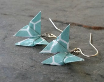 Origami Butterfly Earrings // Teal and White