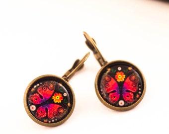 Butterfly Earrings, Red Earrings, Spanish Earrings, Portuguese Earrings, Gift For Her, Cameo Earrings, Red, Boho earrings, Dangle Earrings