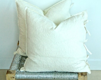 Pair Chikan Hand Embroidery Organic Cotton Pillow Cushion Covers