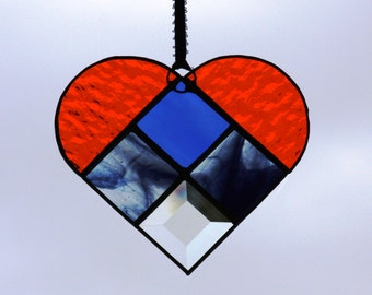 Blue and Orange Stained Glass Suncatcher Heart