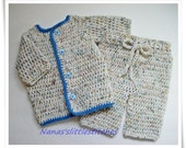Baby Boys, Sweater,pants, 0-3 months,white/blue  Aran Fleck Yarns, Made To Order