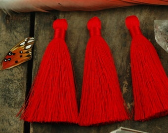 "Red Silky Luxe Large Handmade Tassels, 3.5"", Designer Quality Jewelry Making Supply, Holiday Decor, Charm, Christmas decoration, 2 Pieces"