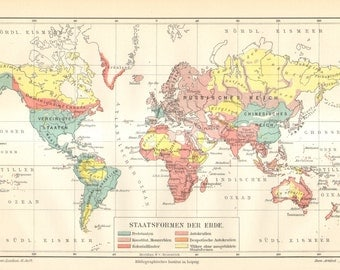 1905 Antique World Map showing the Different Types of States of the World
