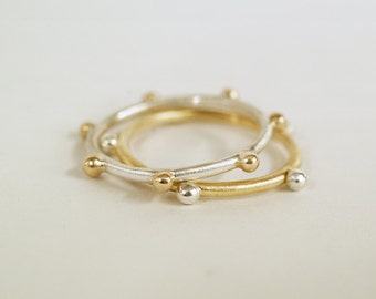 14k gold and sterling silver stacking rings