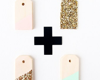 5 Color Blocked Wooden Tags - 8 Color Options