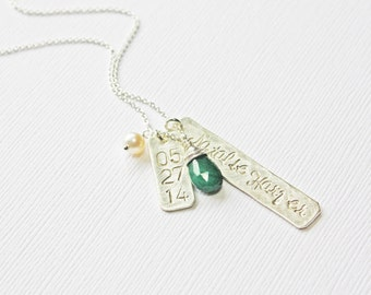 Vertical Silver Bar Family Necklace with Baby Name Birth Date and Birthstone - Unique Gift for New Mother - Push Present - Mothers Jewelery