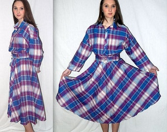 Haley's comet ... Vintage 80s shirtwaist / day shirt dress / full circle skirt / 50s style rockabilly Lucy .... S M