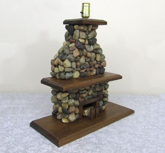 Vintage River Rock Fireplace Lamp Folk Art Working