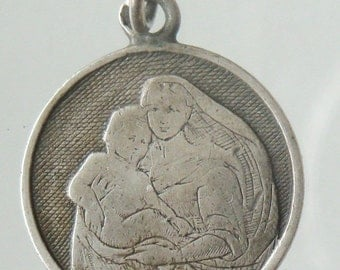 """Vintage Holy Mary with Child Silver Religious Medal Pendant on 18"""" sterling silver rolo chain"""