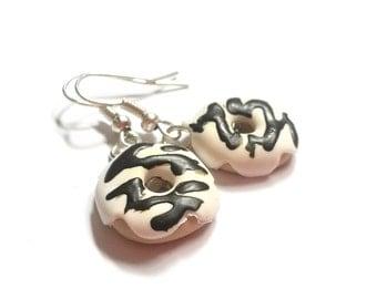 Doughnut Earrings Food Earrings ( donut earrings mini food earrings food miniature polymer clay miniature doughnut miniature donut kawaii )