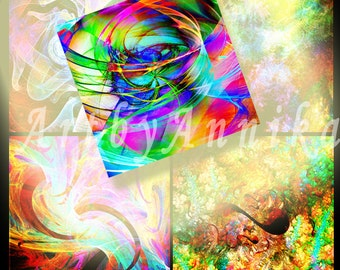 Digital Collage of Fractal abstraction - 48 1x1 Inch Square JPG images - Digital Collage Sheet