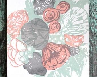 SALE- Flower Bouquet Illustration Screen print Gray