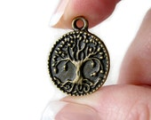 Charms : 10 Brass Ox Tree of Life Charms / Antique Bronze Tree of Life Pendants ... Lead & Nickel  Free 1197.J5E