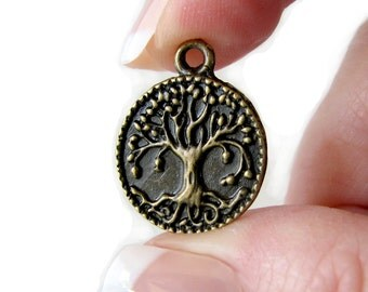 Bronze Charms : 10 Brass Ox Tree of Life Charms / Antique Bronze Tree of Life Pendants ... Lead & Nickel  Free 1197.J5E