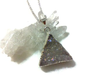Triangle Necklace, Druzy Necklace, Geometric Necklace, Gemstone Necklace, Crystal AB Necklace, Pyramid Necklace, Birthday Gift for Her