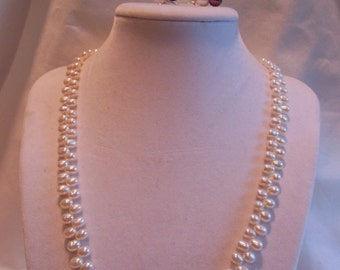 """19"""" White and Burgundy Pearl Necklace with Matching Earrings, Pearl, Necklace, Burgundy, White Pearl, Earrings"""
