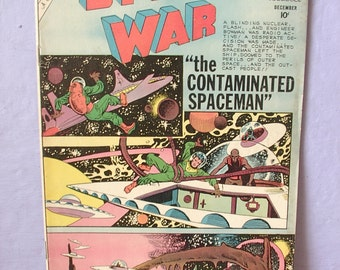 Vintage 1960's Space War comic book, december 1960, UFO's, aliens, space age book, mid century, baby boomer Christmas gift for dad, geekery