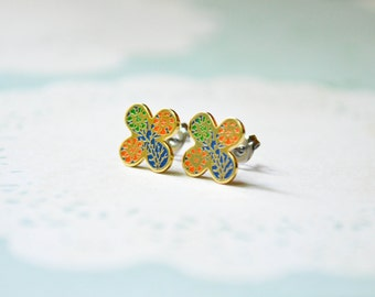 Enamel Earrings - Orange & Green Flowers - Clover - Flower Earrings - Surgical Steel Earrings - Stud Earrings