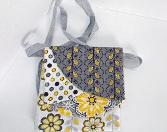 Gray, Black and Yellow Neck Purse