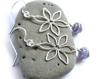 Silver Flower Earrings - Six Petal Daisy with CHOICE of Cat's Eye Dangle Stone - Wire Wrapped Jewelry - Spring Fashion