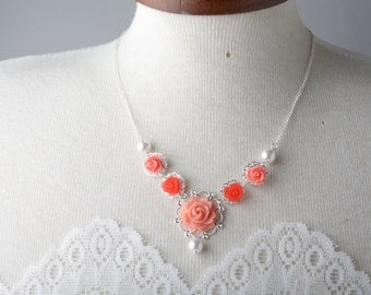 bridesmaid necklace, coral rose necklace, pearl and coral flower necklace, coral wedding jewelry - garden wedding - bride necklace, Canada