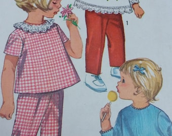 1965 Simplicity 6236, Babydoll Style Blouse Short and Long Sleeve and Pants, Sewing Pattern Girl's Size 2T