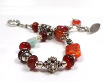 Handmade Beaded bracelet Bali sterling silver Carnelian orange red jewelry