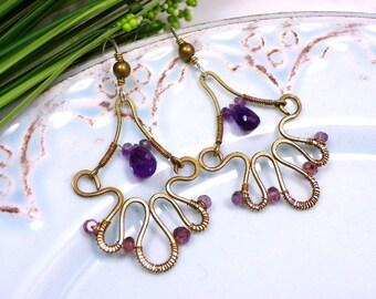 Handmade wire wrapped earrings brass earrings, amethyst jewelry